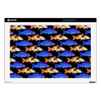 Two Koi Carp Pattern in black Decal For Laptop
