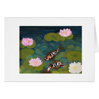 Two Koi Fish and Lotus Flower. Greeting Card. Card