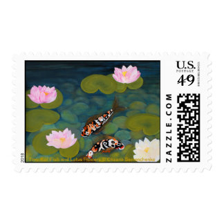 Two Koi Fish and Lotus Flowers Stamps