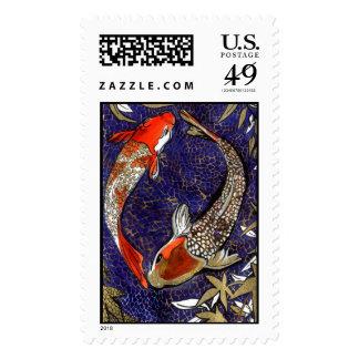 two koi stamp