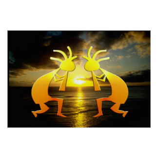 Two Kokopellis at Sunset Poster