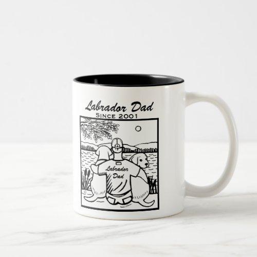 Two Labradors and Dad Two-Tone Coffee Mug