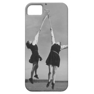 Two lacrosse players jump for the ball. iPhone 5 cases