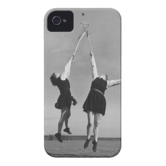 Two lacrosse players jump for the ball. iPhone 4 case