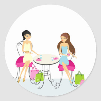 Two Ladies at the Cafe Stickers