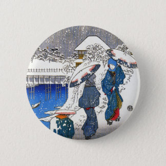 Two ladies conversing in the snow, Ando Hiroshige Button