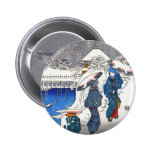 Two ladies conversing in the snow, Ando Hiroshige Pinback Buttons