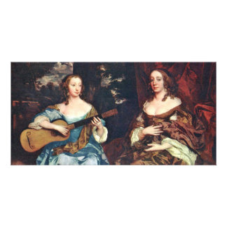 Two Ladies Of The Family Lake By Lely Sir Peter Photo Cards