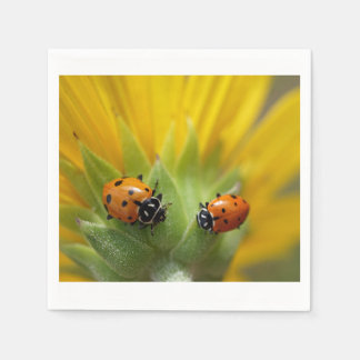 Two Lady Bugs on a Sunflower Napkin