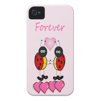 Two Ladybugs with Pillow Hearts, Forever iPhone 4 Cover