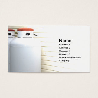 two large outdoor gas or propane tanks business card