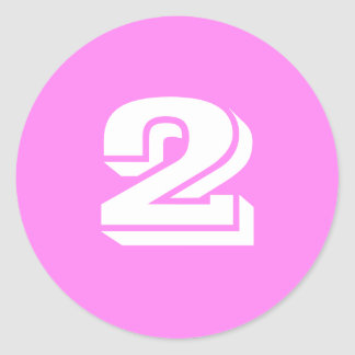 Two Large Round Violet Number Stickers by Janz