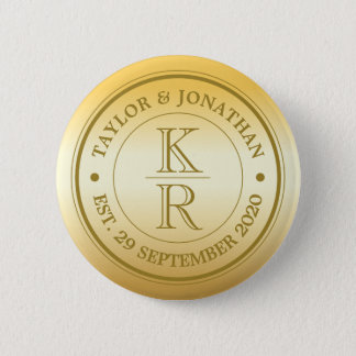 Two Last Names Couple Monogram Gold Ombre Wedding Button