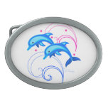 Two Leaping Dolphins Oval Belt Buckle