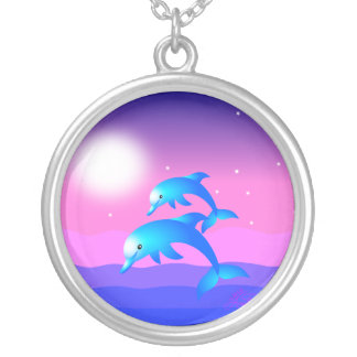 Two Leaping Dolphins Round Pendant Necklace