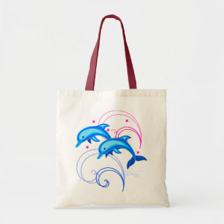 Two Leaping Dolphins Tote Bag