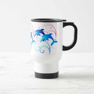 Two Leaping Dolphins Travel Mug