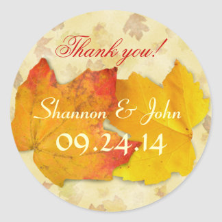 Two Leaves Fall Wedding Round Thank You Sticker