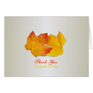 Two Leaves Silver Thank You Message Card