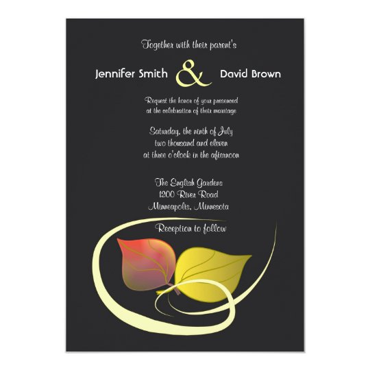 Two Leaves Wedding Invitation