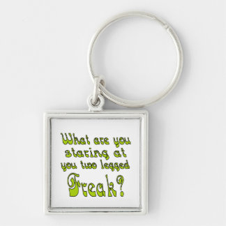 Two Legged Freak Silver-Colored Square Keychain