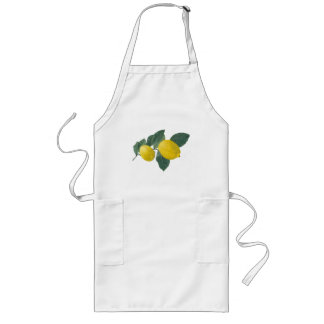 Two lemons on a branch. Oil painting. Long Apron