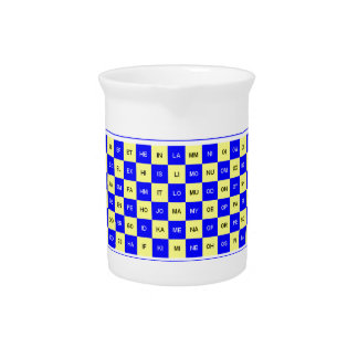 Two Letter Word Blue and Yellow US English Beverage Pitcher