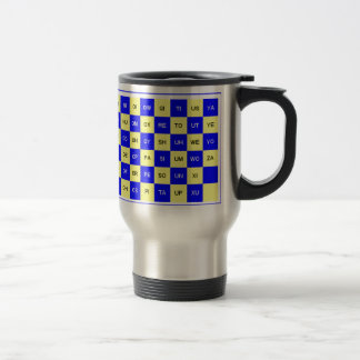 Two Letter Word Blue and Yellow US English Travel Mug