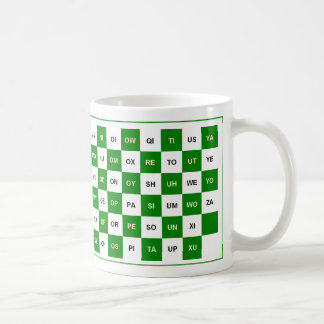 Two letter word mug in green and white