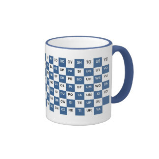 Two Letter Words Blue and white Intrl version Mugs