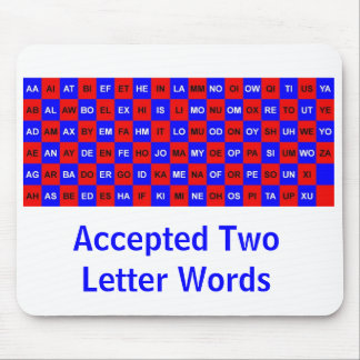 Two letter words for crosswords and games US vers. Mouse Pad
