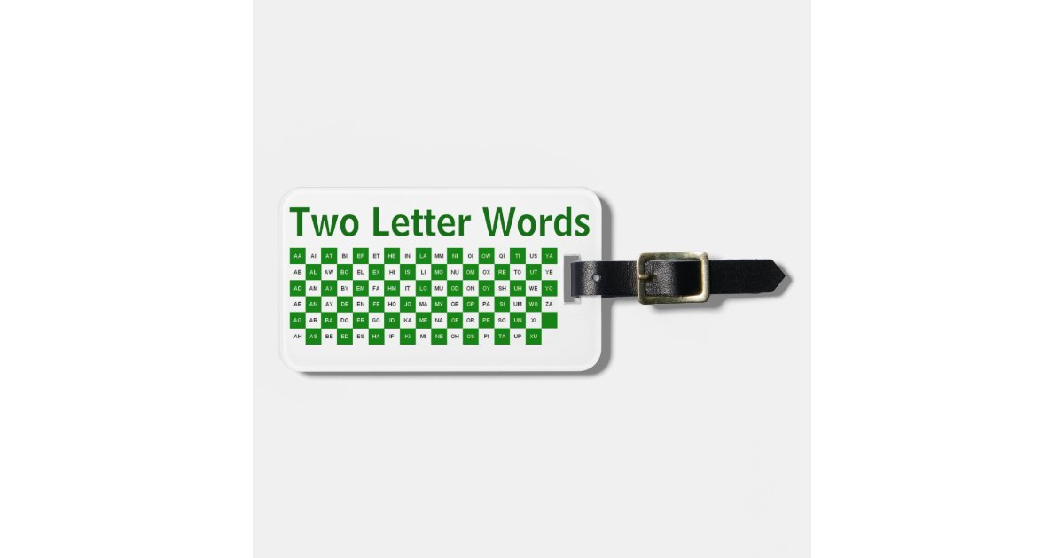 two letter word with z two letter words green and white us version luggage tag 25335