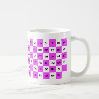 Two Letter words mug in pink