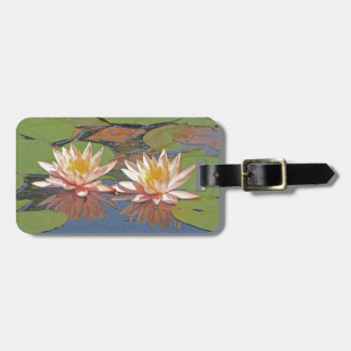 """""""TWO LIGHT PINK LOTUS BLOSSOMS AMID LILY PADS"""" LUGGAGE TAG"""