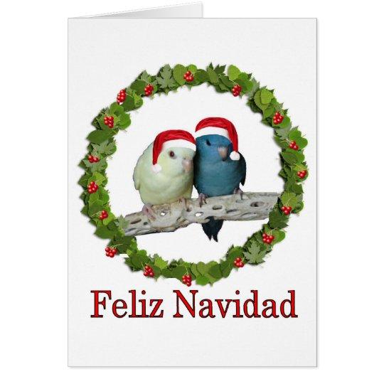 Two Linnie Santas Feliz Navidad Wreath Card