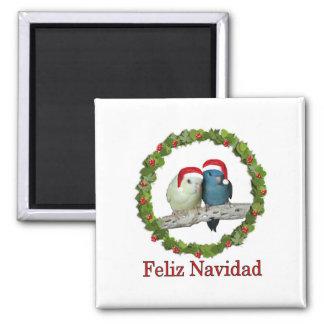 Two Linnie Santas Feliz Navidad Wreath Magnet
