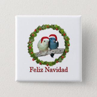 Two Linnie Santas Feliz Navidad Wreath Pinback Button
