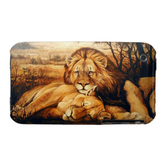 Two Lion couple iPhone 3 Case-Mate Cases