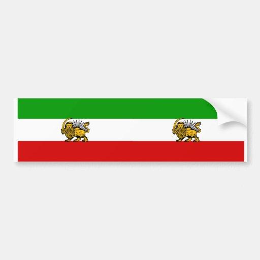 TWO Lion & Sun Iran Flags Bumper Sticker
