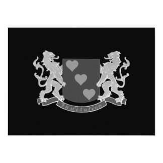 Two Lions And Hearts Crest Card