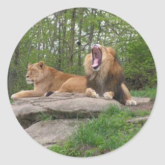 Two Lions Classic Round Sticker