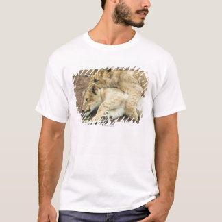 Two lions cubs playing. T-Shirt