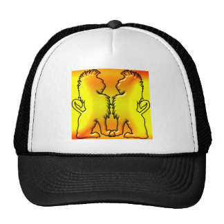 Two lions facing each other trucker hat