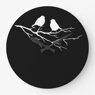 Two Little Bird Black and White Sparrows, Nature Clock