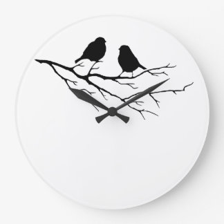 Two Little Bird Black and White Sparrows, Nature Large Clock
