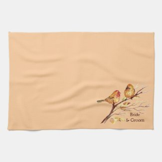 Two Little Bird Sparrows Peach Brown Rustic Nature kitchentowel