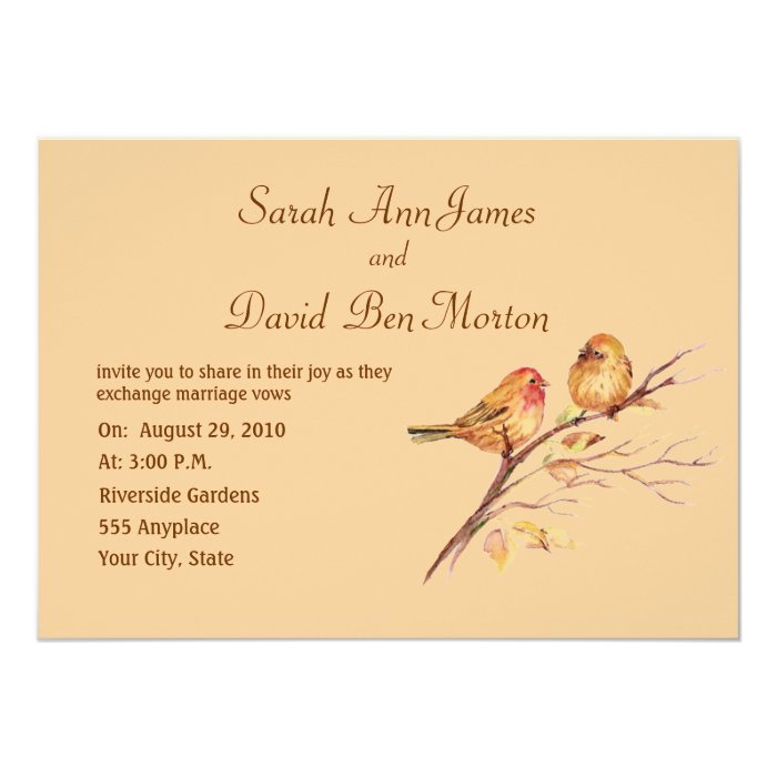 Two Little Bird Sparrows Peach Brown Rustic Nature Card
