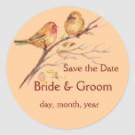 Two Little Bird Sparrows Peach Brown Rustic Nature Stickers
