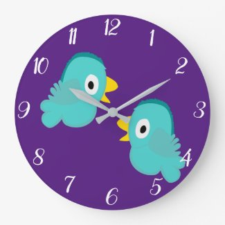 Two Little Birds Convesation Large Clock