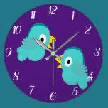 Two Little Birds Convesation Large Clock